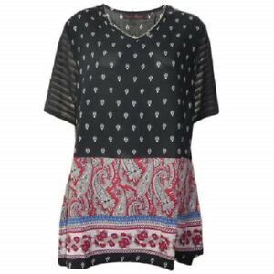 Tunic-Top-by-SUN-ROSE-Plus-Size-14-16-18-20-22-24-Red-Paisley-Print