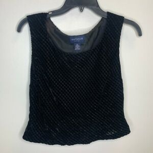 Ann-Taylor-Womens-Blouse-Black-Sleeveless-Scoop-Neck-Cocktail-Top-Petites-6P-New