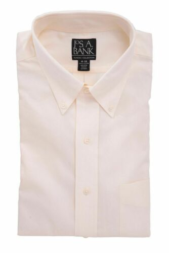 Mens 18 36//37 Jos A Bank Traditional Fit Ivory Button-Down Collar Cotton Dres...