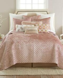 Image Is Loading Luxury Velvet Soft Diamond Quilted Textured Blush Quilt