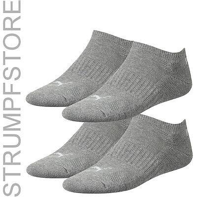 4 Paar Puma Sneaker Socken Sportsocken Frotteesohle Plüschsohle Grau 758