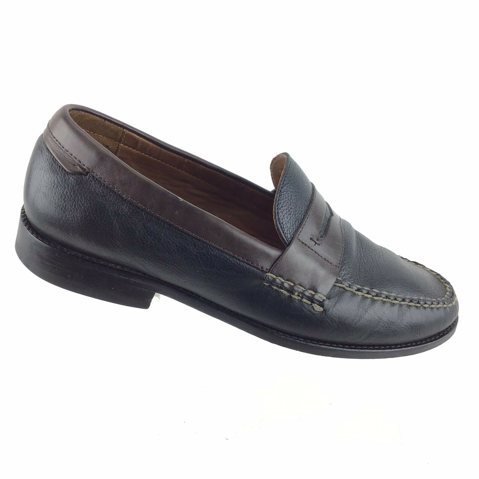 Johnston & Murphy Brown  bluee Penny Loafer Leather Moc Toe Men 10.5 M shoes B2