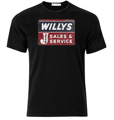 Graphic Cotton T Shirt Short /& Long Sleeve Jeep Willy/'s Sales And Service