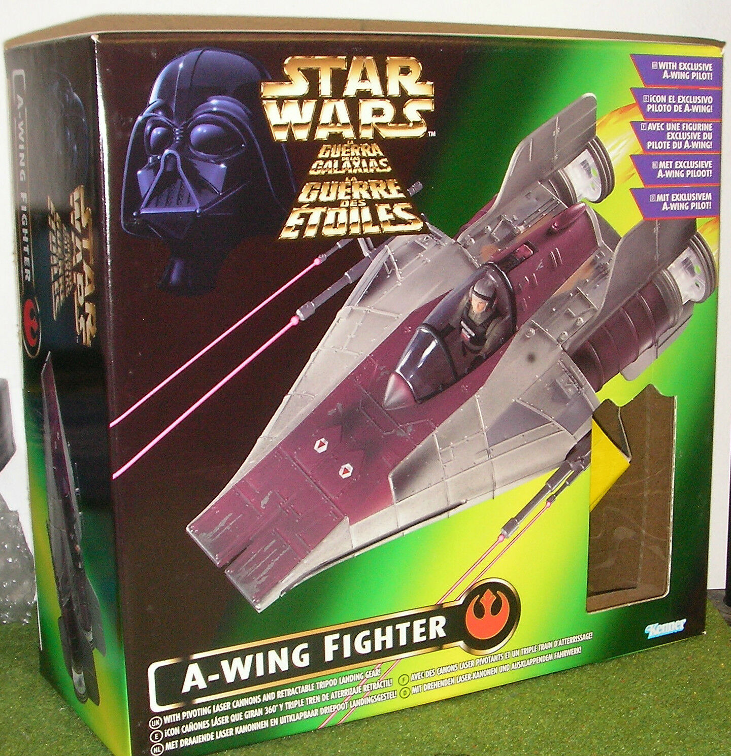 STAR WARS RETURN OF THE JEDI POWER OF THE FORCE 2 A-WING FIGHTER w  PILOT
