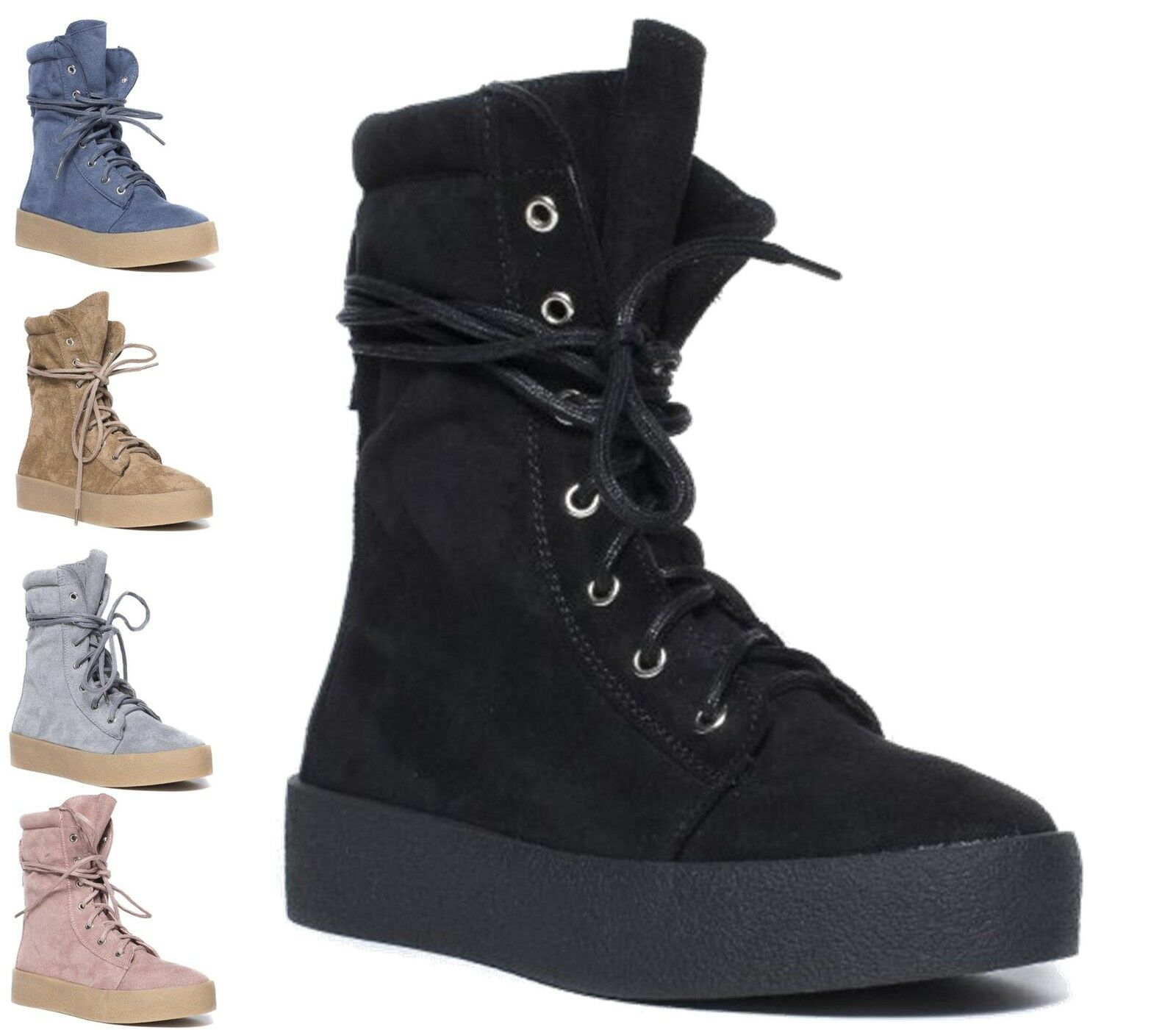 Ladies Flat Casual Ankle Boots Creeper Wedge Lace Up Hi Top Shoes Boots Size 3-8