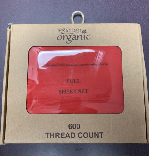 100/% Pure Organic Cotton Bed Sheet Set Fitted Solid Red Deep Pocket Full 4PC 600