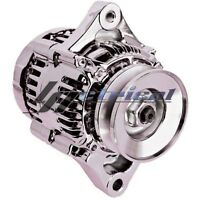 High Output Alternator Chrome Mini Denso Style 1 Wire Hookup Street Rod Race 70a