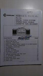 Samsung-pd-770-service-manual-original-repair-book-boombox-tape-player-radio