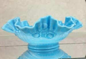 Slag Glass BOWL by Fenton Cabbage Rose Pattern