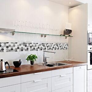 Details zu 3D Mosaik Selbstklebend Wand Fliesen Sticker Vinyl Badezimmer  Küche Wohndeko DIY