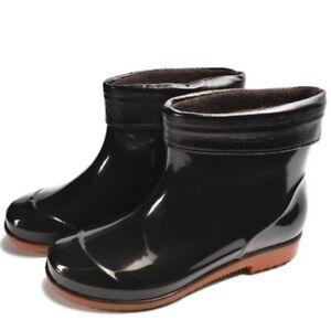Women Winter Warm Rain Pvc Round Toe Rubber Flat Heels Outdoor Rainboots Shoes by Unbranded