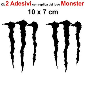 Kit-2-Adesivi-Monster-Graffio-Moto-Stickers-Adesivo-7-x-10-cm-decalcomania-NERO
