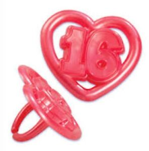 24-X-Sweet-16-Cupcake-Rings-Cake-Toppers-Picks-Party-Partyware-Decor-Partyware