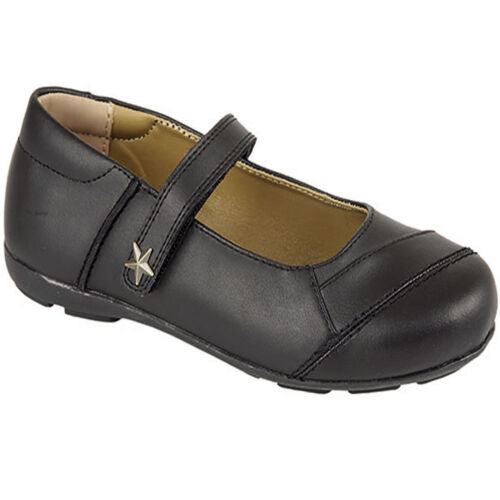 NEW GIRLS CHILDREN SCHOOL BLACK LEATHER CASUAL FORMAL STRAP FASTENING SHOES SIZE