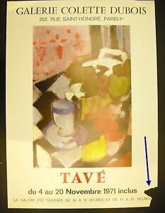 Poster Signed Exhibition Georgette Tave 4 November 1971 Gallery Colette Dubois