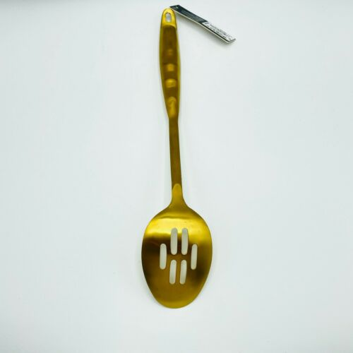 Martha Stewart Collection Slotted Spoon Stainless Steel Serving Utensil Gold NEW