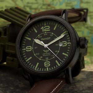 Pilotenuhr-Fliegeruhr-automatik-B-Uhr-8215-Militaer-amp-Borduhr-Russland-IP-BLACK