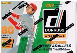 2019-Donruss-Baseball-Trading-Cards-88c-Retail-BLASTER-Box-Purple-amp-Rapture-PC