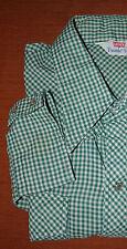 Mens VTG 70's Levi's Western Snap Gingham Check Plaid Green White Shirt L or XL