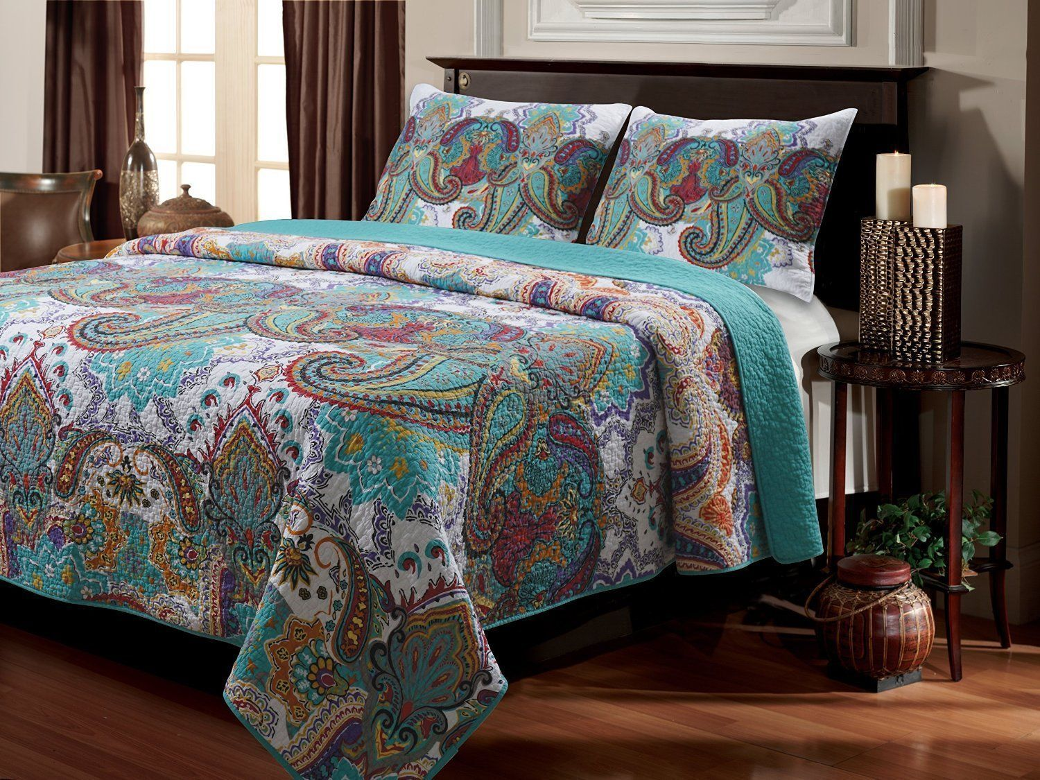 BEAUTIFUL REVERSIBLE COTTON Blau TEAL  rot GLOBAL MGoldCCAN TURQUOISE QUILT SET