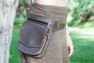 Details About Belt Bag Leather Brown Hip Waist Pack Women Men