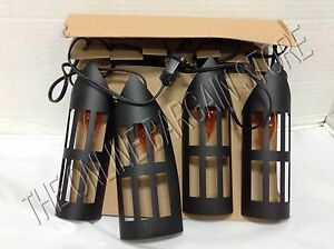 Pottery Barn Halloween Prop Caged Lantern String Indoor Outdoor Lights 9 Cord eBay