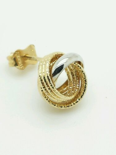 14k Yellow White Gold Two Tone Love Knot Stud Earrings 10mm