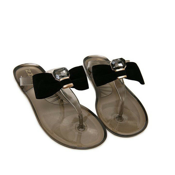 Sandali eleganti bassi  ciabatte black fiocco infradito comodi simil pelle 1113