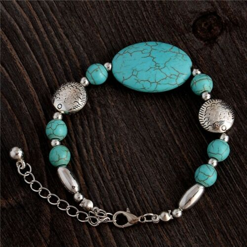 Silver & Turquoise Oval Bead Bracelet