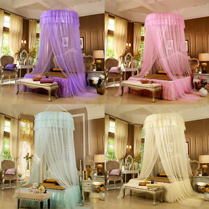 Round Lace Curtain Mosquito Net Dome Bed Canopy Netting Princess Elegant Lace