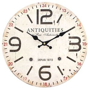 Rustic-Shabby-Chic-French-Wooden-Wall-Clock-34cm-Vintage-Antiquities-Design