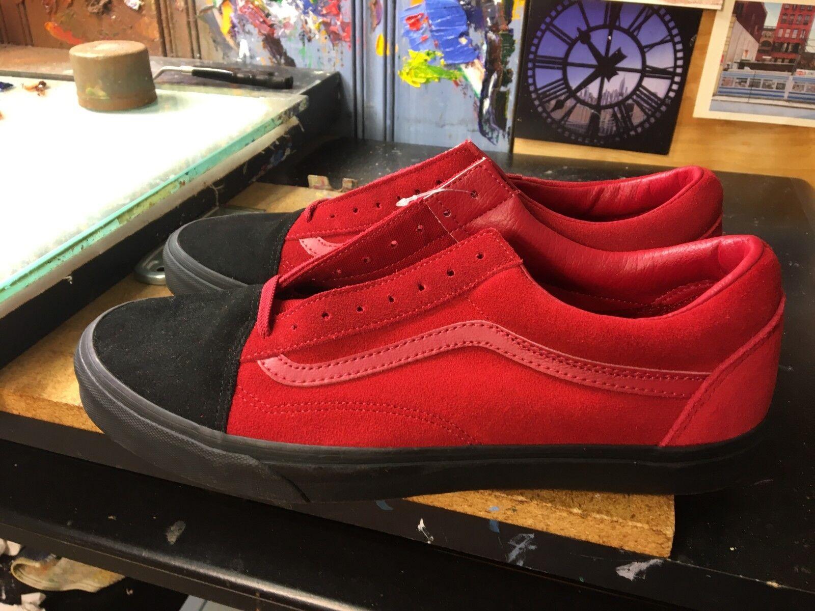 Vans Old Skool (nativo de gamuza) Rojo negro tamaño nos 13 para hombres VN0A38G1QVU