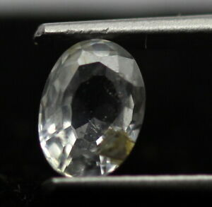 0.77 Ct Natural Colorless Sapphire Oval Faceted Cut 6 x 4 mm Sri Lanka Gemstone
