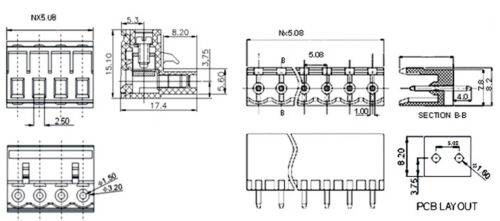 5Pcs 5.08mm Pitch 9 pin 9 way Screw Pluggable Terminal Block Plug Connector L