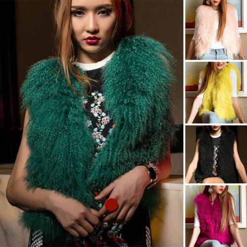 Coat Vest Soft Fur Waistcoat Lamb Kvinder Warm Ægte Outwear Fluffy får 64IwRWp