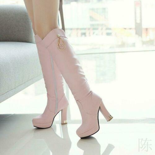 Ladies Knee High Boots Slouch Block High Heels Side Zip Casual Shoes Plus Size