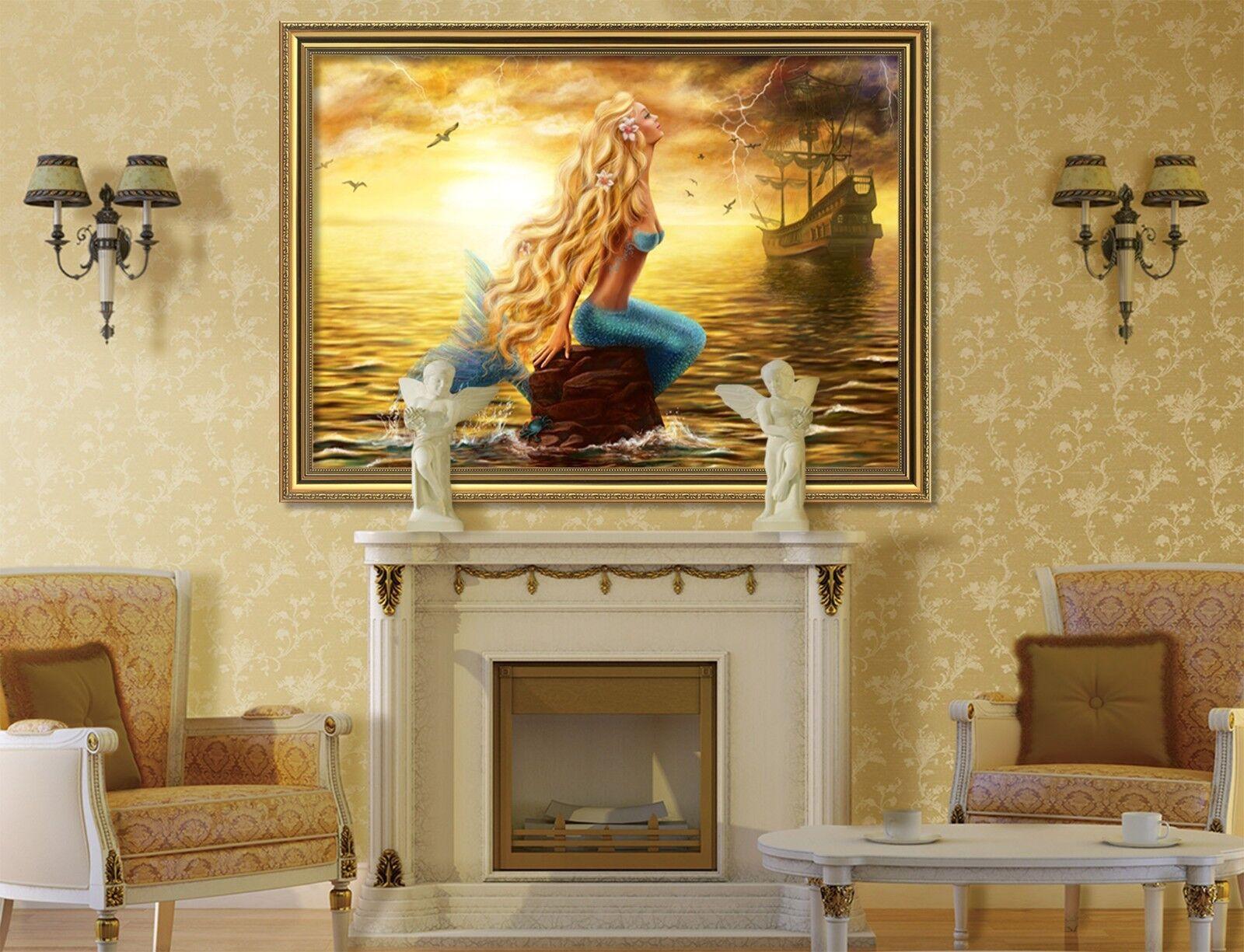 3D Sea Mermaid 5 Framed Poster Home Decor Print Painting Art AJ WALLPAPER