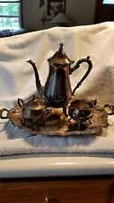ANTIQUE LEONARD SILVER PLATED COFFEE/TEA POT CREAMER SUGAR SERVING SET LID TRAY