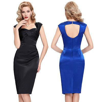 Women 50s 60s Satin Retro Housewife Formal Party Slim Fit Dress Plus+