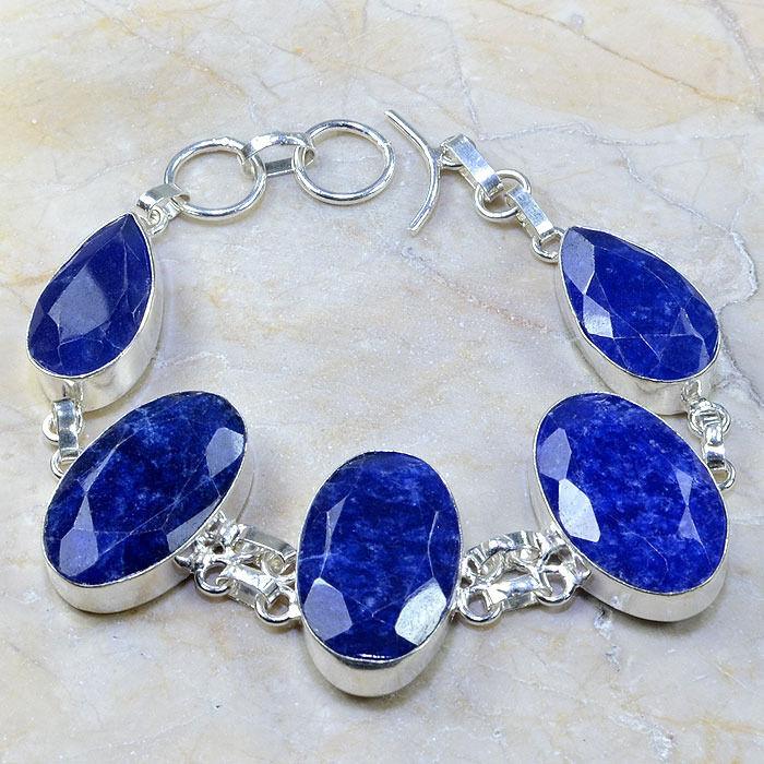 "Handmade Blue Sapphire Gemstone 925 Sterling Silver Bracelet 9"" #d98259"