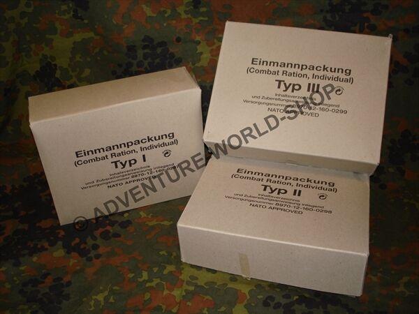 Bundeswehr EPA TYP 1 TYP 2 TYP 3 - MRE Combat Ration BW Einmannpackung NOTVORRAT