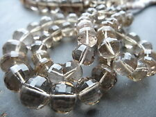 LASER FACETED SMOKEY QUARTZ RONDELLES, approx 8mm - 11mm beads, 16.5""