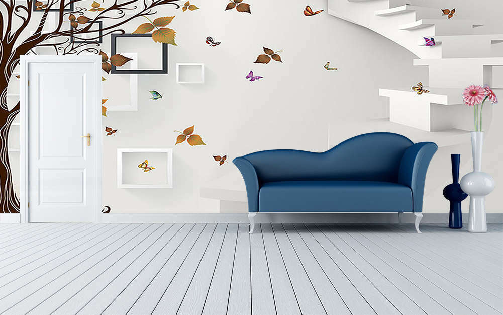 Leaves Butterfly 3D Full Wall Mural Photo Wallpaper Printing Home Kids Decor