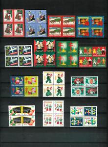 U-S-CHRISTMAS-SEALS-20-Diff-Mint-Blocks-F-VF-NH-OG-1938-1974-All-Scott-Listed