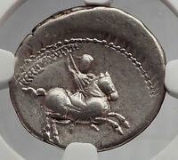 Roman Republic 82BC Apollo Stork Horse Authentic Ancient Silver Coin NGC i59975