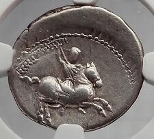 Roman Republic 82BC Apollo Stork Horse Authentic Ancient Silver Coin NGC i59975