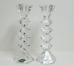 Tall Pair Of Crystal Candle Holders
