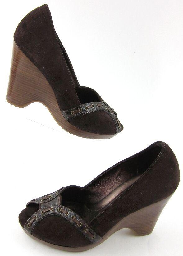 Cole Haan Open Toe Wood Stacked Heel Pumps Sandals Brown Suede Sz 6.5M