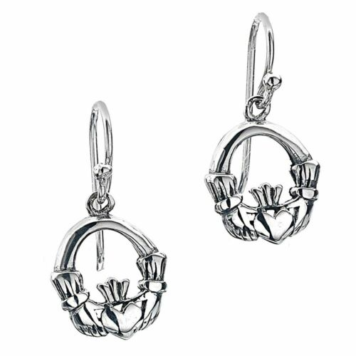 E691 Simple Sterling Silver 10mm Claddagh Drop Earrings Celtic Collection