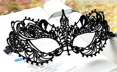 Beautiful lady Black Lace Floral Eye Mask Venetian Masquerade Fancy Party Dress